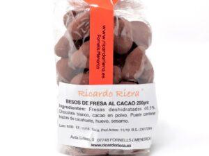 Besos de fresa al cacao 200 grs.