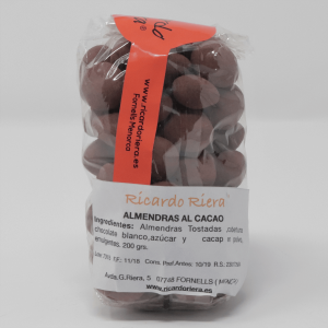 Almendras Tostadas al Cacao 200 grs